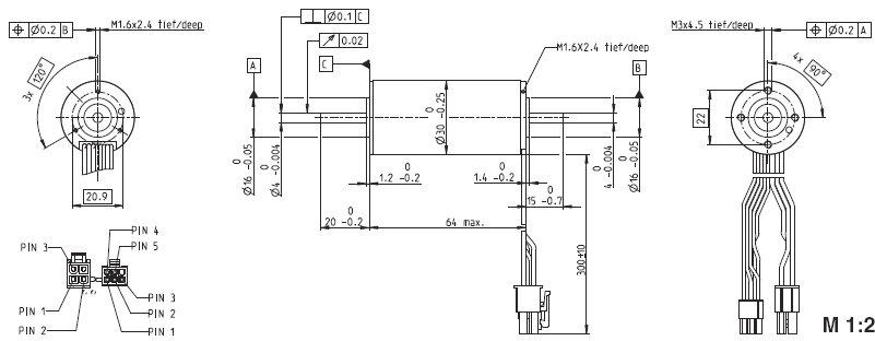EC-max 30 272764, Бесколлекторный двигатель постоянного тока серии EC-max 30, диаметр 30 мм, мощность 60Вт.